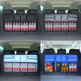 Wholesale Trunk Storage Net - 1Pcs Universal Auto Car Organizer Trunk Rear Back Seat Storage Bags Grid Mesh Net Pocket Pouch Travel Organizer Closet Container