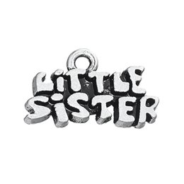 Wholesale little sister charm - 30PCS Latest Styles DIY Accessories Jewelry English Lettering LITTLE SISTER Tibetan Silver 3 Style Charms Dangle Jewelry