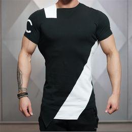 Männliche muskelkurzschlüsse online-Neue Männer Sommer Stil Mode T-Shirts Fitness Und Bodybuilding Slim Fit Oansatz T-shirt Freizeit Muskel Männlichen Kurzen Ärmeln Kleidung T Tops