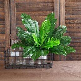 Wholesale April 18 - 1 Bunch 18 Heads Artificial Silk Plants Cycas Palm Tree Garden Home Decoration