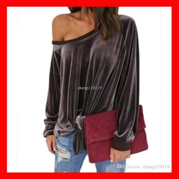 Wholesale Womens Shirt Xl - Sexy Off Shoulder women Blouses Shirt 2018 womens Spring Autumn Long Sleeve Solid Color Tunic Shirt Velvet Tops Blusas Camisas Mujer Plus