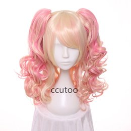 Wholesale Blonde Lolita - ccutoo wig 25.5inch Pink Blonde Mix Wavy Medium Cosplay Wig Lolita Synthetic Wig