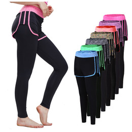 Wholesale Womens Compression Pants - New Womens 2 In 1 Yoga Pants Women Gym Workout Fitness Leggings+Shorts Compression Running Tights Jogging Sport Trousers