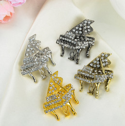 Wholesale Wholesale Piano Crystal - Fashion Small Size Piano With Crystal Brooch Multicolor Musical Instruments Pins Wedding Jewelry Corsage Free Shipping