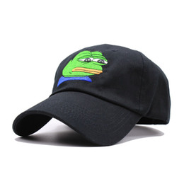Wholesale Bad Snapback - Sad Kermit Cap Frog Pepe Feels Bad Man Embroidery Sun -Shade Snapback Hip Hop Baseball Cap The Sad Meme Frog Hat