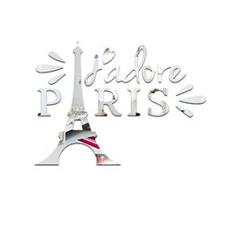 Wholesale wall stickers paris - 1 Set Tower In Paris Mirror Stickers 3D Acrylic Wall Stickers Removable DIY Home Decor Waterproof Decal Room Wall Decoration Silver Gold