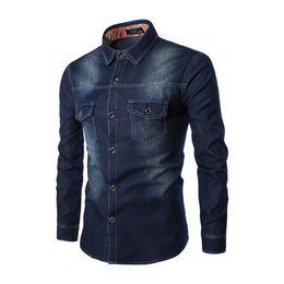 60f4a309560c7 Plus Size 6xl Primavera Hombre Casual Moda Camisa de algodón Deep Blue  Cowboy Shirt Denim Turn-down Collar masculino vaqueros del dril de algodón  de los ...