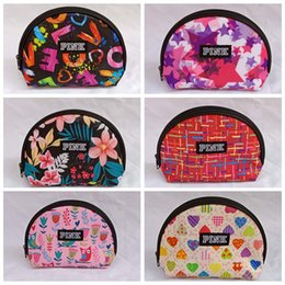 Wholesale hard shell clutch - Pink Letter Clutch Bag Portable Travel Semicircle Cosmetic Makeup Bags Storage Bag Printed Coin Purse Wallets 60pcs OOA5346