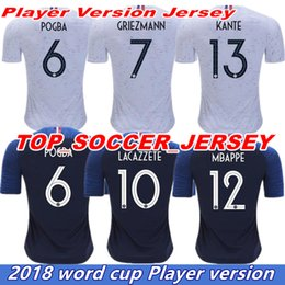 Wholesale Authentic Soccer - Authentic Player Match Version 2018 Home World Cup home soccer jersey shirt GRIEZMANN POGBA MBAPPE jersey shirt France