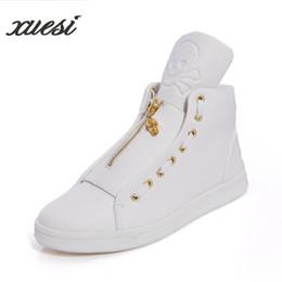 Botas de invierno para hombre cremalleras online-Moda nuevos hombres ocasionales zapatos altos esqueleto tendencia zapatos de cremallera negro invierno hombres Botinas Masculina para hombre botas