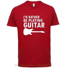 Canada Col rond manches courtes t-shirts hommes je plutôt jouer de la guitare t-shirt - 10 couleurs Offre