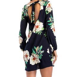 X summer dress 2018 gasa de la impresión floral boho beach dress casual de manga larga vestidos de fiesta sin respaldo atractivo vestidos de mujer más el tamaño desde fabricantes