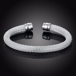 006b7dd7f 925 silver bracelet men brand 2019 - Braided Silver 925 Bracelets for Women  Man Mesh Wide