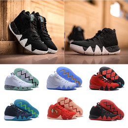 Wholesale Green Confetti - 2018 Black Confetti Obsidian Correct Version Kyrie Irving 4 Basketball Shoes for High Quality 4s Boston Green White Casual Sports Sneakers