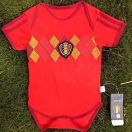 Fútbol recién nacido online-Baby Climbing Jumpsuit Copa del mundo Equipo nacional Ropa de fútbol Camiseta de manga corta Tendencia Baby Football Ropa de bebé recién nacido