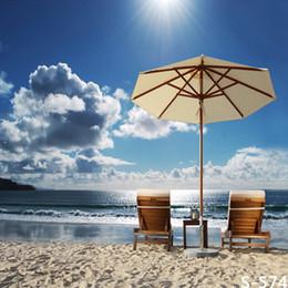 2019 8x8ft foto sullo sfondo 8x8FT Sedie da spiaggia Ombrellone da spiaggia Cielo Sole Nuvole Cielo Foto sfondo personalizzato Studio Sfondo Vinile 240cm x 240cm sconti 8x8ft foto sullo sfondo