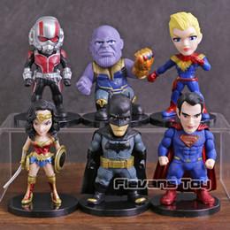 Ant Man Thanos Superman Batman Wonder Woman Capitan Marvel PVC Figure Giocattoli 6 pezzi / set da