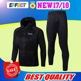 Wholesale cap sleeved - Top quality 2017 2018 black tracksuits men's long-sleeved football suit with a cap