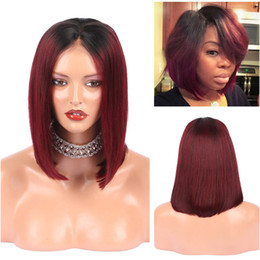 Wholesale Red Human Hair Lace Fronts - Two Tone 99j Human Hair Lace Wig Wine Red Silk Straight Middle Part Bob Wig Ombre Burgundy Full Lace Wig For Black Women
