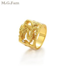 Wholesale Men Dragon Ring - MGFam (206R) Dragon Rings For Masculine Men 24k Pure Gold Plated China Mascot National Style jewelry 9 10 11 12 (US)