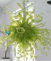Argentina 100% Hand Blow Glass Shade Green Chandelier Style Moderno Hogar Arte Decorativo Colgante Accesorio de Iluminación Lámpara de Cristal en Dubai supplier green pendant light shade Suministro