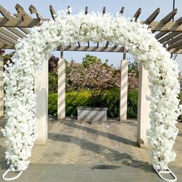 Wholesale Metal Hanging Lights - Luxury wedding Center pieces Metal Wedding Arch Door Hanging Garland Flower Stands with Cherry blossoms flower For Wedding Event Decoration