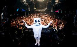 dj top music Rebajas DJ Marshmello Máscara de látex Fiesta de Halloween Cosplay Sombrero Top 100 DJS Music Festival Divertido Máscara envío gratis