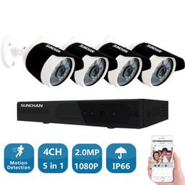 Выход видеокамеры онлайн-SunChan 4ch 1080P HDMI выход DVR AHD система видеонаблюдения 4 шт. 1080P 2.0 MP наружная камера P2P видео главная безопасности видеонаблюдения комплект