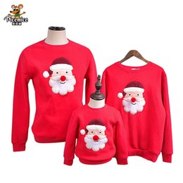 Wholesale family christmas sweaters - Family Clothes 2017 Winter Sweater Christmas Santa Claus Children Clothing Kid shirt Polar Fleece Warm Family Matching Outfits
