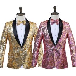 Pajarita rosada para hombre online-2018 Mens Pink Gold Flower Sequins Fancy Paillette Cantante de Boda Chaqueta de traje de rendimiento de la etapa anual DJ Blazer con pajarita