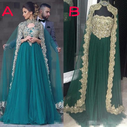 tulle detachable jacket Promo Codes - Appliqued Sequins Tulle Evening Dresses 2019 Newest Arabic Muslim Formal Celebrity Dress Kfatan Abaya Party Gowns with Detachable Cape