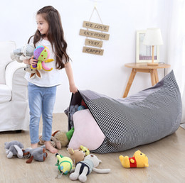 stuffed animal cushion Promo Codes - Children Toy Storage Bag 2 in 1 Stuffed Animal Doll Plush Toys Storage Bag Organization Lounge Chair Folding Kid Seat Cushion Decor