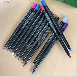 Wholesale matte eyeliner - WaterProof Colors Eyeliner Eyeshadow Liner Pencil Automatic Rotary Multi Purpose pen 12 Different Color In One Packet