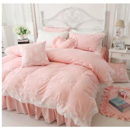 Корейские наборы для постельных принадлежностей онлайн-Wholesale-Korean Princess style cotton bedding no filling duvet cover set 3/4pcs twin full queen king size lace bed skirt free shipping