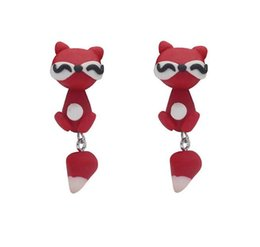 orecchini della vite dell'argilla del polimero Sconti 2018 Wholeale Handmade Fox Polymer Clay Orecchini per le donne Cartoon Fox Orecchini DIY Cute Animal Orecchini Best Gift per le donne Ragazze 179