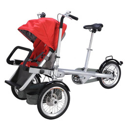 Wholesale Alloy Folding Bicycle - Wholesale-Brand Aluminum Alloy Mother Baby Stroller Bike Folding Three WheelsTrolleys Kids Bike Strollers Kids Not Taga Bicycle Stroller