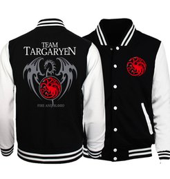 Wholesale Game Thrones 4xl - Bomber Jacket Men Game of Thrones Targaryen Fire & Blood Winter Male Jacket 2017 Autumn Baseball Jackets Men's Tracksuit Hip Hop