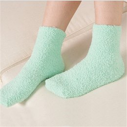 Wholesale Ladies Fleece Shorts - 1 Pair Winter Autumn Warm Fashion Casual Candy Color Womens Lady Thick Coral Fleece Slipper Short Socks Fuzzy Hosiery