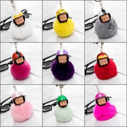 Wholesale Keychains Character - Fantasy New Fluffy Rabbit Fur Pompom Motorcycle helmet Sleeping Baby Key Chain Women Fur Doll Keychain Car Keyring Toy