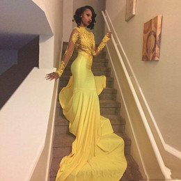Wholesale Long Prom Dresses Blue - 2018 Pretty Yellow African Lace Appliqued Prom Dress Mermaid Long Sleeve Banquet Evening Party Gown Custom Made Plus Size South African