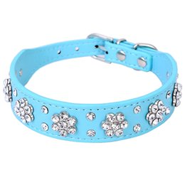 Wholesale Diamante Leather Dog Collars - New Cute Bling Rhinestone Flowers Dog Collar Diamante Small Pet Cat Puppy PU Leather Collar Necklace Buckle Size S M XQ076