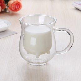 cow glasses Promo Codes - Small Cow Cup Glass Originality Water Milk Fruit Juice Tea Coffee Drinks Mug Double Deck Heat Insulation Tumber 13zx bb