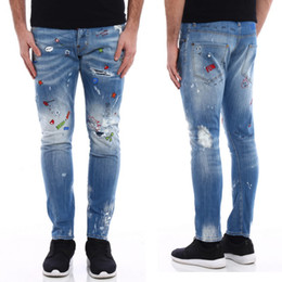 Wholesale Worn Out Jeans - Men Sexy Twist Printed Low Rise jeans Button Fly Worn Out Vintage Effect Denim Pants Graffiti Style