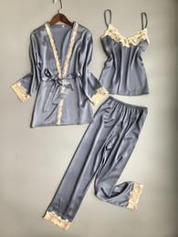 029194cb8f Three Piece Female Sexy Silk Pajamas Set Robe Sling Pajamas Long Sleeved  Pants Women Nightgown 6 Color Sleepwear