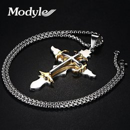 Wholesale Large Stainless Steel Cross Necklace - whole saleModyle Stainless Steel Men's Large Layered Cross Pendant Necklace for Men Jewelry with 24 Inch Box Chain