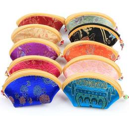 Симпатичные китайские кошельки онлайн-11x6cm мини мило оболочки молнии шелк портмоне женщины бумажник красочные ювелирные изделия чехол для хранения конфеты китайский традиционный мешок подарка смешанный шаблон