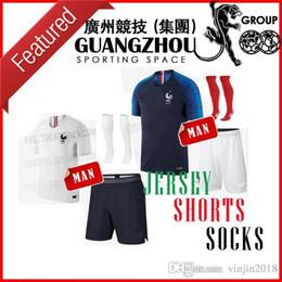 Wholesale France Soccer Kit - 2018 World Cup France ADULT KIT Soccer Jerseys Home MBAPPE GRIEZMANN 2019 Away white LACAZETTE MARTIAL GIROUD JERSEY 18 19 FOOTBALL SHIRTS