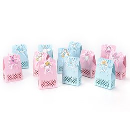 Wholesale candy kids favors bags - 12pcs Baby Shower candy box Event Party Supplies Decoration Cute boy and girl Paper Baptism Kid Favors Gift Sweet Birthday Bag