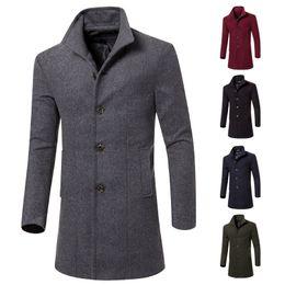 Wholesale green wool trench coat - Men Wool Trench Coat Winter Long Jacket Overcoat Classic Pea Coat