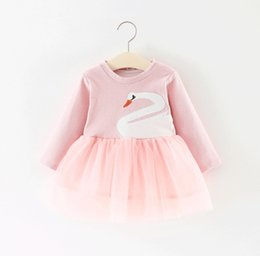Wholesale Swan Style - Baby Girls Swan Gauze Dresses Spring 18 Kids Boutique Clothing Korean 1-4T Little Girls Solid Color Long Sleeves Dresses